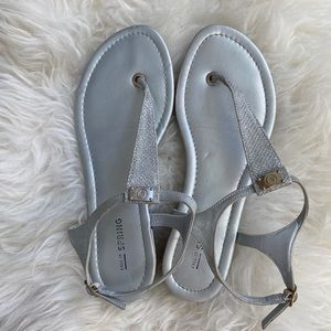 Call It Spring Silver Sandals Size 7